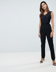 Morgan Lace Detail Jumpsuit In Black