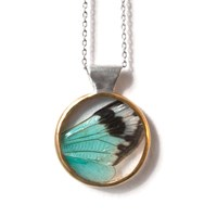 Carrie Bilbo Jewelry Cicada Wing Necklace Blue