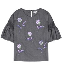 Kenzo Embroidered Wool Blouse Grey