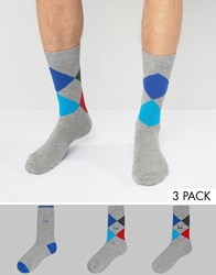 Pringle Socks With Argyle Print 3 Pack In Charcoal Grey