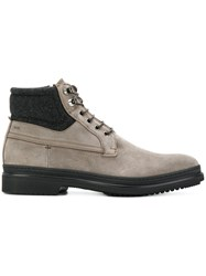 Fabi Lace Up Boots Leather Suede Rubber Grey