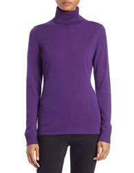 Lord And Taylor Petite Merino Wool Turtleneck Sweater Acai