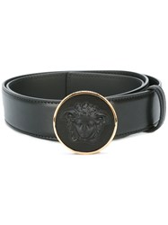 Versace Round Medusa Buckle Belt Black