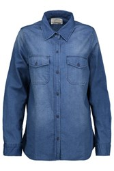 Current Elliott The Perfect Faded Cotton Chambray Shirt Blue