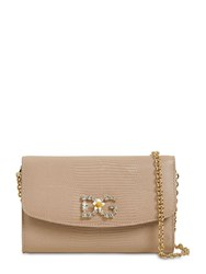 Dolce And Gabbana Iguana Embossed Leather Bag Cipria