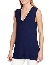 Lauren Ralph Lauren Sleeveless V Neck Sweater Navy