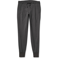 Wooyoungmi Cuffed Stretch Cotton Trousers Gray