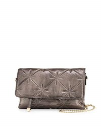 Neiman Marcus Quilted Chain Strap Crossbody Bag Pewter