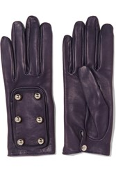 Causse Gantier Ion Embellished Leather Gloves Dark Purple