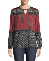 Tolani Caitlyn Long Sleeve Tie Dye Print Blouse W Embroidered Detail Plus Size Crimson