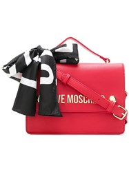 Love Moschino Logo Scarf Satchel Red
