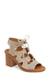 Bella Vita Women's Bre Lace Up Block Heel Sandal Taupe Suede