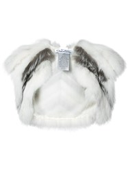 Oscar De La Renta Open Bolero Women Silk Fox Fur S White