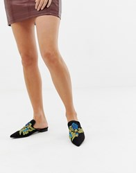 Glamorous Floral Embroidered Mules Black