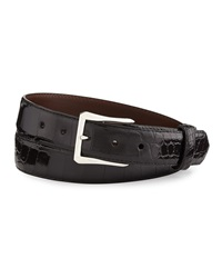 W.Kleinberg Glazed Alligator Belt With 'The Watch' Buckle Black Made To Order
