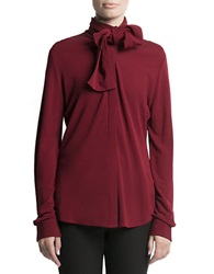 Pink Tartan Alex Tie Jersey Blouse Red