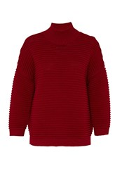 Hallhuber Jumper With Prominent Cross Rib Red