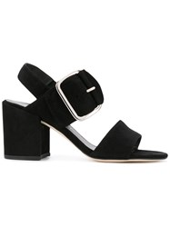 Stuart Weitzman Chunky Buckle Sandals Black