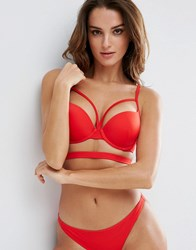 Asos Cut Out Plunge Push Up Bikini Top Red
