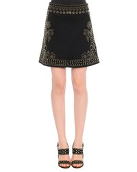 Valentino Metal Beaded Suede Skirt Black
