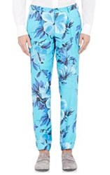 Cifonelli Floral Print Single Pleated Trousers Blue