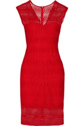 Badgley Mischka Guipure Lace Dress Red