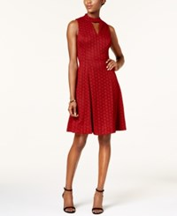 Robbie Bee Petite Choker Fit And Flare Dress Red