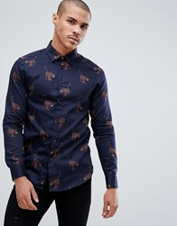 Ted Baker Party Shirt In Navy With Panther Print