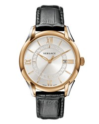 Versace Apollo Watch W Calfskin Leather Strap Rose Golden Black