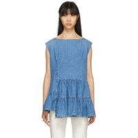 Maison Martin Margiela Mm6 Blue Denim Tiered Ruffle Blouse
