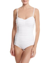 Michael Kors Shirred Solid One Piece Swimsuit White