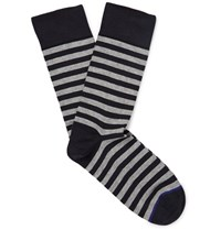 John Smedley Tobin Striped Sea Island Cotton Blend Socks Midnight Blue