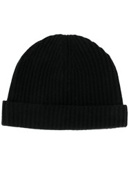 N.Peal Ribbed Beanie Black