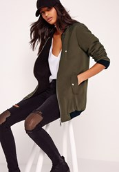 Missguided Shearling Lined Longline Padded Bomber Jacket Khaki Beige