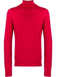 Fay Turtleneck Fine Knit Sweater Red