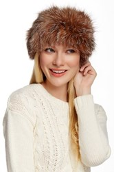 Dena Genuine Fox Fur Headband Brown