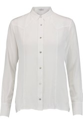 7 For All Mankind Western Silk Crepe De Chine Shirt White