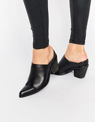Warehouse Western Mule Boot Black
