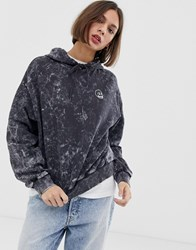 Cheap Monday Washed Effect Hoodie With Skull Print With Organic Cotton Black