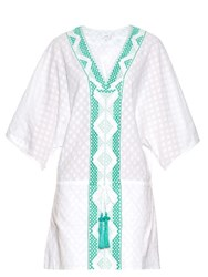 Biondi Peridot Embroidered Cotton Kaftan Green White