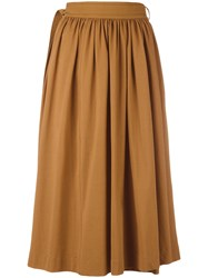 Christophe Lemaire Pleated Skirt Brown