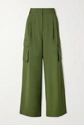 Tibi Tropical Pleated Woven Wide Leg Pants Army Green