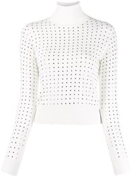 Liu Jo Stud Embellished Turtleneck Jumper White