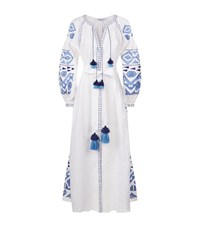 March11 Embroidered Linen Maxi Dress Female White