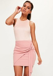 Missguided Tall Pink Jersey Crep Tie Front Mini Skirt