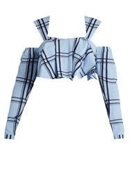 House Of Holland Ruffled Checked Cotton Cropped Top Blue