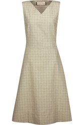 Marni Pleated Checked Cotton And Linen Blend Dress Leaf Green