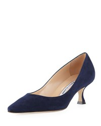 Manolo Blahnik Srila Suede Low Heel Pump Navy