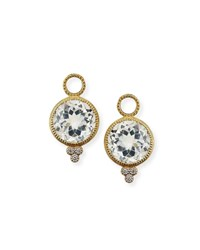 Jude Frances 18K Provence Round Earring Charms White Topaz Gold