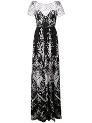 Marchesa Notte Long Embroidered Dress Black